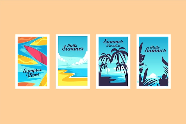 Collection of flat design summer cards
