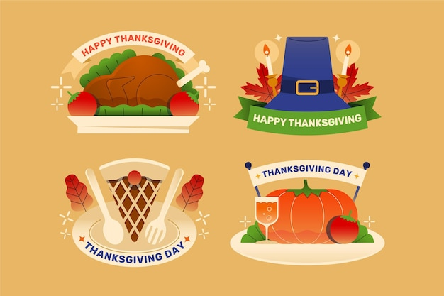 Collection of flat design thanksgiving label