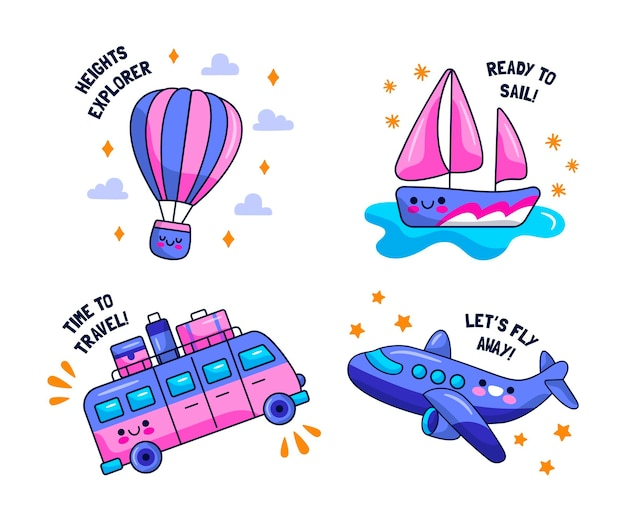 Collection of flat design traveling stickers