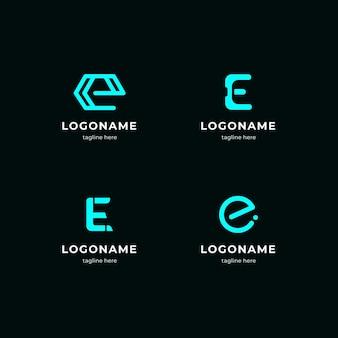 Collection of flat e logo templates