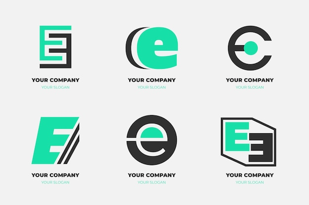 Collection of flat e logo templates