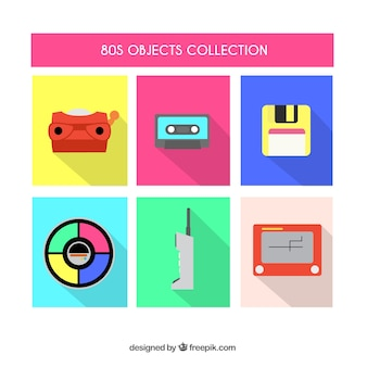 Collection of flat eighties objects