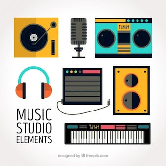 Collection of flat elements for a music studio