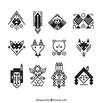 Collection of flat ethnic items for logos