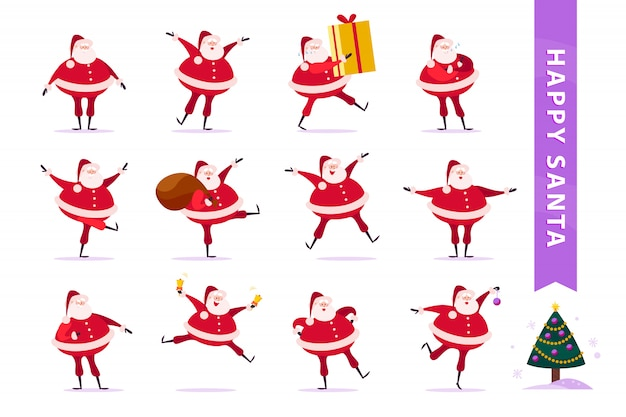 Collection of flat funny santa claus characters isolated. santa carry big gift box, hold presents bag, ring bells, dance, smile & decorate christmas tree.