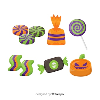 Collection of flat halloween candies