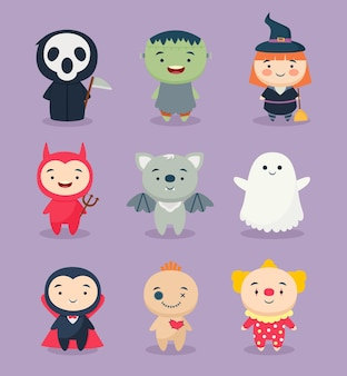 Collection of flat halloween character