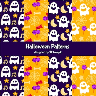 Collection of flat halloween pattern