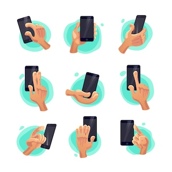 Collection of flat hand symbols holding smartphone isolated on white background. cartoon style. emoji icons, symbols set. different hands and gestures signs.
