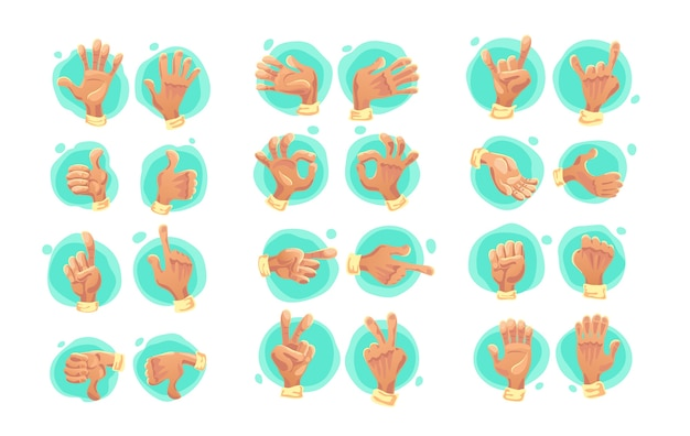 Collection of flat hand symbols isolated on white background. cartoon style. emoji icons, symbols set. different hands and gestures signs.
