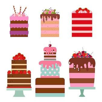 Коллекция плоской иллюстрации торта