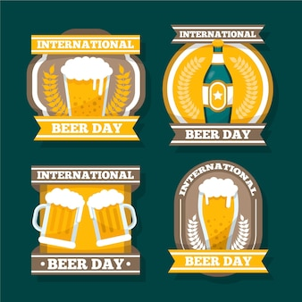 Collection of flat international beer day badges