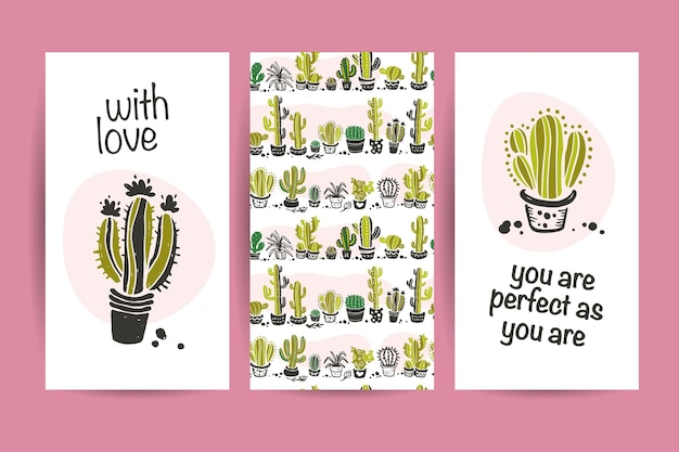 Collection of flat love cards with funny hand drawn cacti icons, lettering congratulations and seamless pattern isolated on white background. valentine day cards, love quotes.