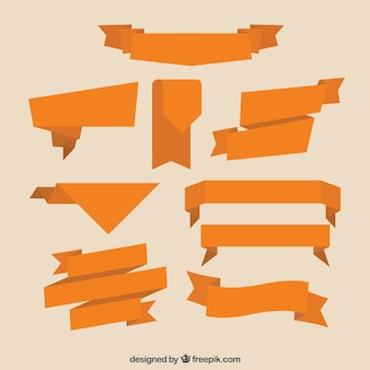 Collection of flat orange ribbon