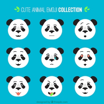 Collection of flat panda emoticons with different facial expressions