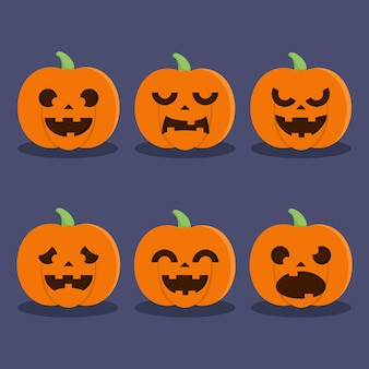 Collection of flat pumkin character