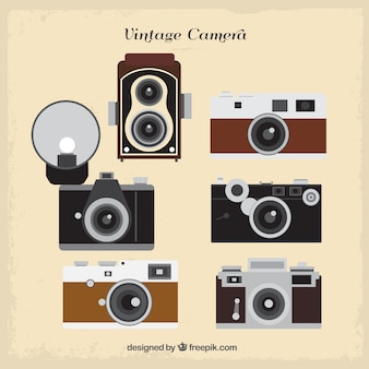 Collection of flat retro cameras