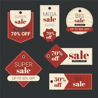 Raccolta di etichette di vendita piatte
