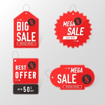 Collection of flat sales tags