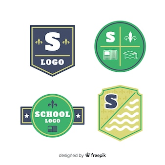 Collection of flat school logotypes