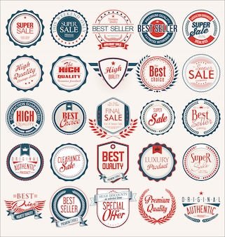 Collection of flat shields badges and labels retro style