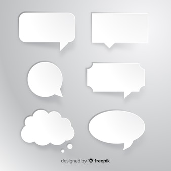 Collection of flat speech bubble in paper style