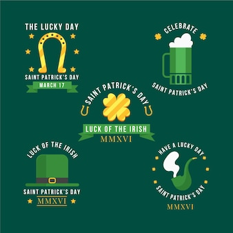 Collection of flat st. patrick's day badges