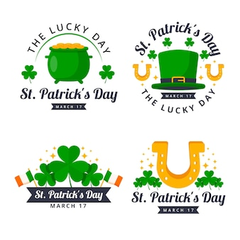 Collection of flat st. patrick's day labels