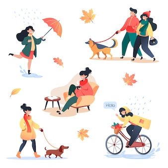 Collection of flat style characters on warm autumn day, autumn outdoor, active people in the park and home comfort.