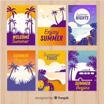 Collection of flat summer cards