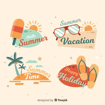 Collection of flat summer labels