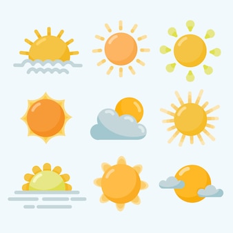 Collection of flat sun elements