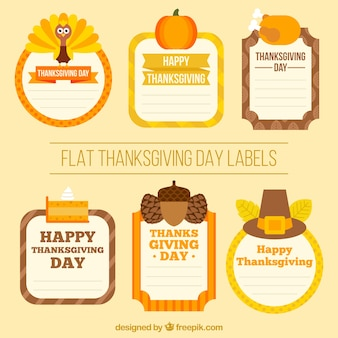 Collection of flat thanksgiving stickers