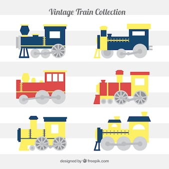 Collection of flat trains with yellow details