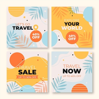 Collection of flat travel instagram pack