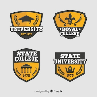 Collection of flat university logos