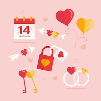 Collection of flat valentine's day element