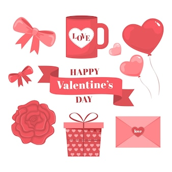Collection of flat valentine's day elements
