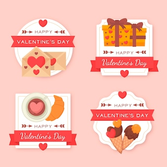Collection of flat valentine's day label/badge