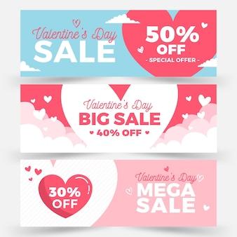 Raccolta di banner di vendita di san valentino piatto