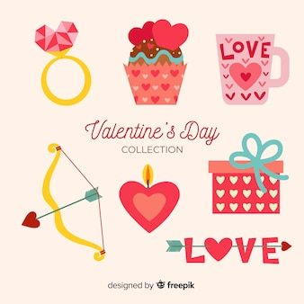 Collection of flat valentines day elements