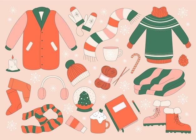 Collezione di abiti invernali piatti ed essenziali