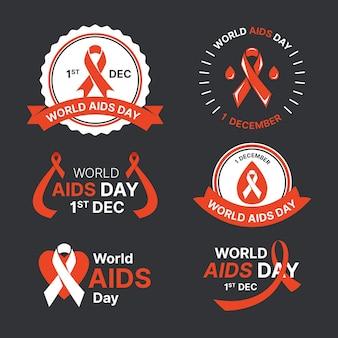 Collezione di badge per la giornata mondiale contro l'aids