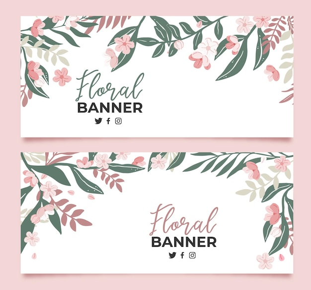 Collection of floral banners in flat
