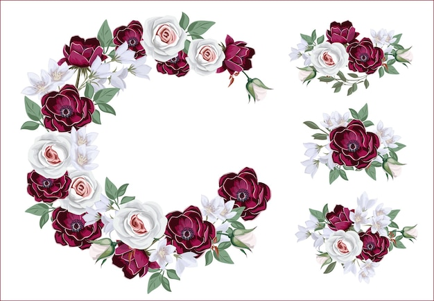Collection of  floral borders and compositions with wedding flowers. template for invitation or greeting card