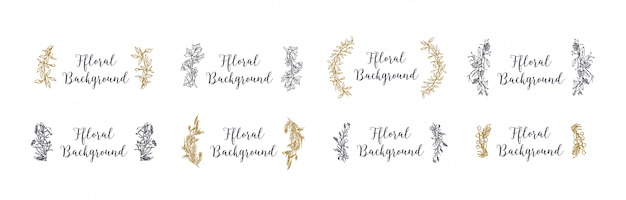 Collection of floral decorations with contour lines.