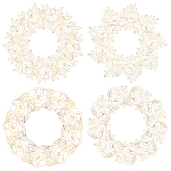Collection of floral decorative circle