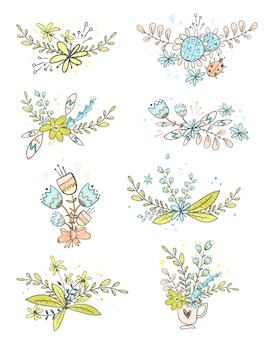 Collection of floral doodle bouquets.