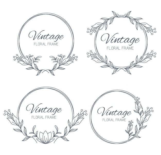 Collection floral frames. unique decoration for greeting card, wedding invitation