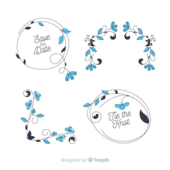 Collection of floral hand drawn wedding ornament
